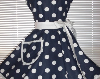 Fifties Style Sweetheart Retro Apron Navy Blue White Polka Dots Circular Flirty Skirt