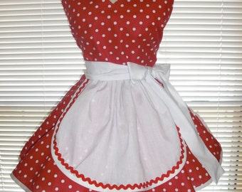 French Maid Apron Pin-up Retro Style Red with White Polka Dots Flirty Skirt Sweetheart Neckline