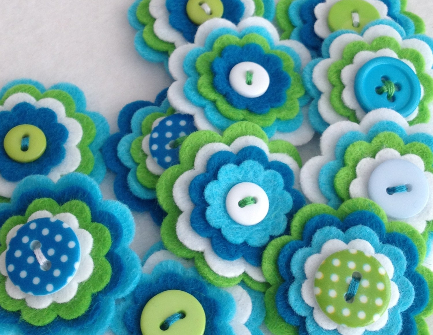 SUMMER x3 Handmade Layered Felt Flower Button Embellishments