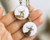 Deer Necklace, Deer Pendant, White and Brown Necklace, Brass Pendant
