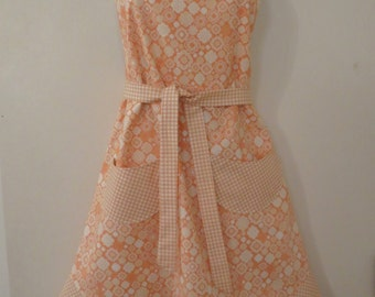 Orange Print Full Apron