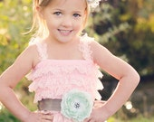Light Pink Romper with Mint Flower and Gray Satin Sash - Photo Prop - Birthday - Cake Smash