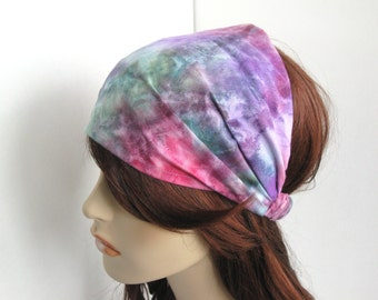 Tie Dye Headband Boho Head Wrap Dreadband Womens Headband Bandana Hippie Headband Tie Dye Print Pink Green Purple Womens Gift for Her