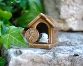 "1930s Tiny Porcelain Doghouse marked and numbered ""Germany 6527""  and little porcelain Dollhouse dog"