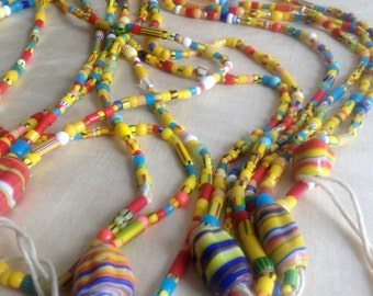 13 Strand Lot of African Glass Beads / Jewelry Bead supply / Lot of Glass Beads /Ethnic Glass Beads