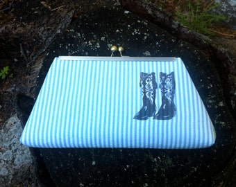Cowboy Boots Graphic Printed Light Blue Striped Framed Clutch