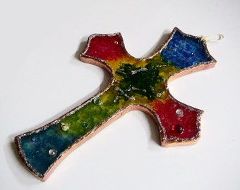 Colorful Glass Wall Cross