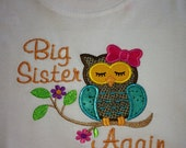 Big Sister Again Girl Owl Design Sibling Tee/Personalized Birthday T-Shirt