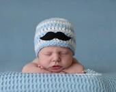Newborn boy hat, baby boy beanie, mustache beanie, baby boy clothes, little man outfit, newborn boy, baby boy, mustache, newborn photo prop