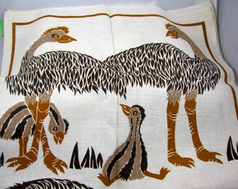 Vintage Designer Tea Towel by Rodriquez of Australia With Emus