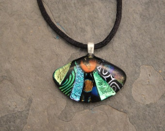 Fused Dichroic Glass Multi-Colored Pendant - BHS02793