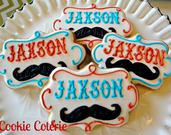 Little Man Mustache Monogrammed Cookies Decorated Sugar Cookie Party Favors One Dozen
