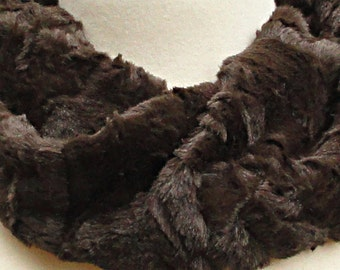 Beaver Faux Fur Scarf - Dark Chocolate Brown Textured Minky Infinity Scarf .