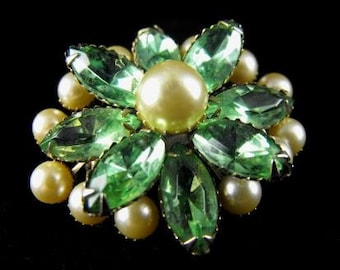 Rhinestone Brooch Green Marquis Cut Stones Pearl Tone Accents Large Layered Beauty