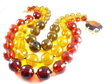 Amber Lucite Necklace Huge Faceted Glass Topaz Clasp Sterling Vermeil