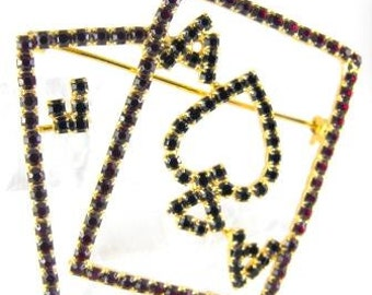 Aces High Brooch Red Rhinestone Poker Hand Fun Figural Jewelry 1970s Era