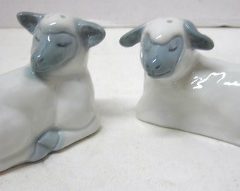 1980 Fitz and Floyd Sheep/ Lambs Salt and Pepper Shakers