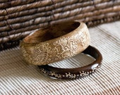 Wooden Bracelets Set, Brown and Beige, Hand Painted, FREE SHIPPING