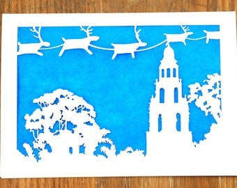 Christmas on the Prado in Balboa Park, San Diego, laser cut holiday card