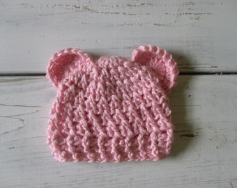 Crochet baby Girl Beanie hat with ears- light pink- newborn- 3 months MADE TO ORDER