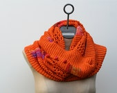 Made to Order: Tangerine Orange Hand Knit Pima Cotton Sunset Infinity Scarf Cowl Shawl with Multicolor Hand Dyed Threads and Red Buttons - AmyLaRoux