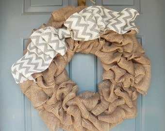 Burlap Wreath with Double Chevron Bow - 24-25''