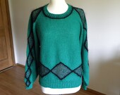 Emerald Green Knit Pullover with Sparkle and Black Angora