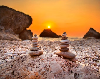 Beach decor, stone pyramids sunset in background photography print, boulders, paradise island, Greece, sea and spa relaxation, orange sky