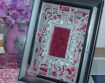 Antiqued Silver Berry Marble Mosaic Framed  Art