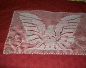 Filet Crochet Eagle Doily Wallhanging 25 x 17 Vintage 80s doily American Eagle Doily
