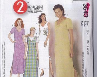 2002 McCall's Pattern 3543 Dress Jumper size 16 18 20 22