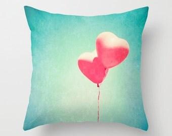SALE Pillow cover, turquoise pillow, love pillow, pink pillow, balloon pillow, nursery art, nursery decor, blue pillow, couch pillow,pillows
