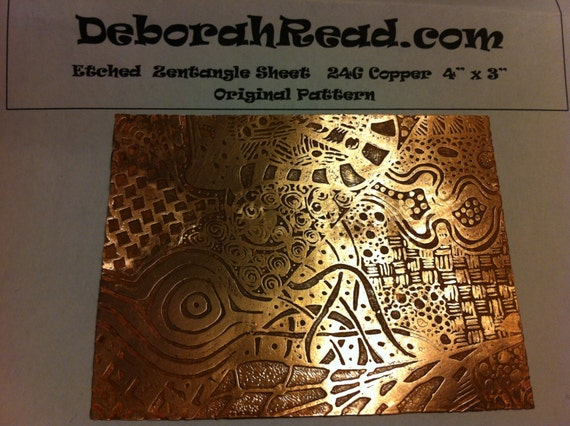 Etched 24g Copper Sheet 3 X 4 Zentangle