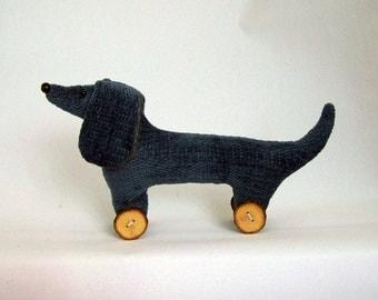 Dachshund, doxie, weiner, sausage dog, dog on wheels, handmade keepsake, home decor, ready to ship, UK seller