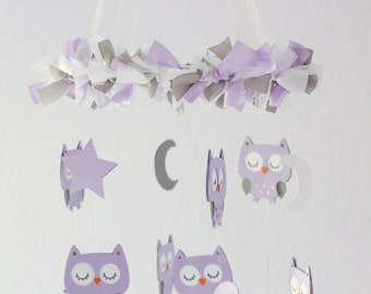Owl Nursery Mobile in Lavender, White & Gray- Baby Mobile, Crib Mobile, Baby Shower Gift