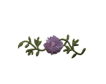 ID #6468 Purple Wildflower Vine Flower Iron On Embroidered Patch Applique