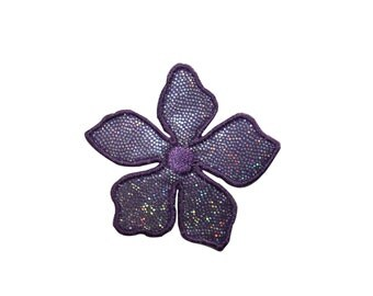 ID #6503 Shimmering Purple Hibiscus Flower Iron On Embroidered Patch Applique