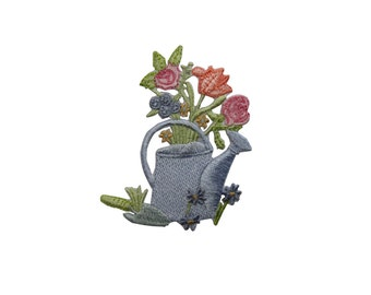 ID #7074 Garden Water Can with Flower Plant Iron On Embroidered Patch Applique
