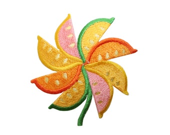 ID #7306 Colorful Citrus Fruit Pinwheel Food Iron On Embroidered Patch Applique