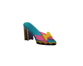 ID #7348 Multicolor High Heel Shoe Fashion Iron On Embroidered Patch Applique