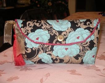 Modern Blue Peony Clutch Bag