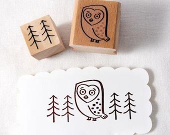 Owl & tree Rubber Stamp set