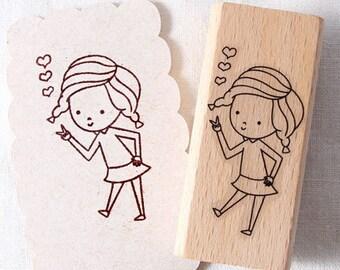 Lovely V girl Rubber Stamp