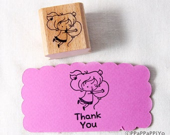 50% OFF SALE balloon with girl Rubber Stamp