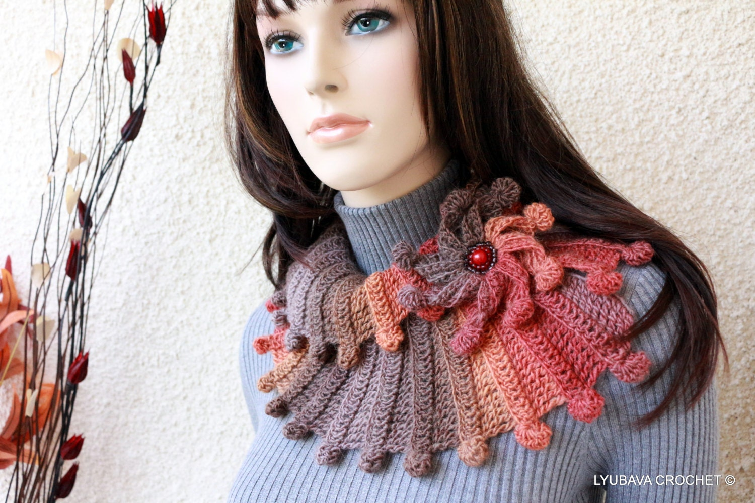 Crochet Scarf Pattern Fantasy Scarf With Flower Multicolor