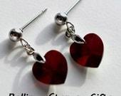 10mm Garnet Swarovski Crystal Heart Dangle Stud Earrings-Garnet Swarovski Post Stud Drop Heart Crystal Earrings