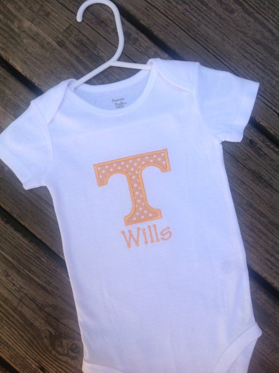 "UT ""Power T"" applique short or long sleeve onesie or shirt with personalization"