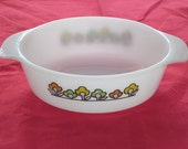 Vintage White Fire King Summerfield Casserole or Serving Bowl by Anchor Hocking