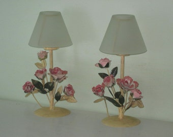 Pair Vintage Cream with Pink Flowers Toleware Candle Holders with Frosted Glass Shades