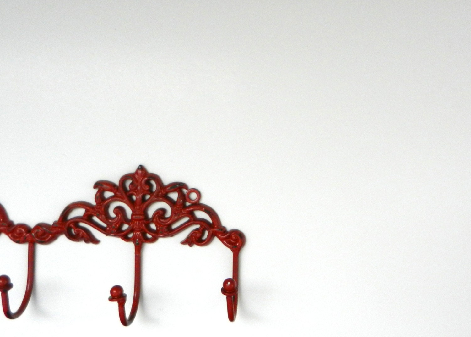 Red Country Wall Decor : Red decorative wall hook french country decor ornate key